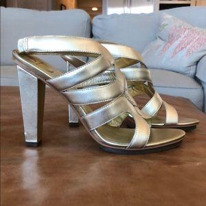 DVF gold metallic heels size 8.5 w/ dusted bag/box